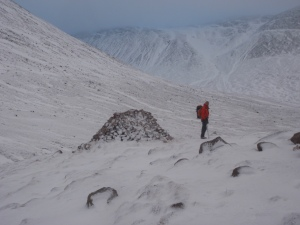Mountain Rescue team member at the Garbh Choire Refuge, Cairngorms, January 2012