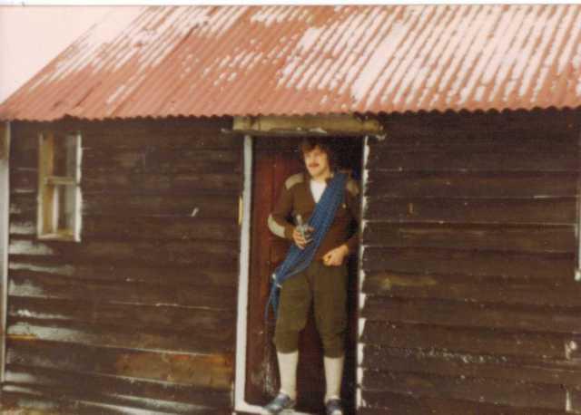 Luibeg Bothy in 1978, with Ian Shand in doorway