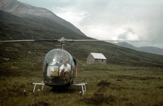 Helicopter beside Corrour Bothy, Cairngorms, in 1959