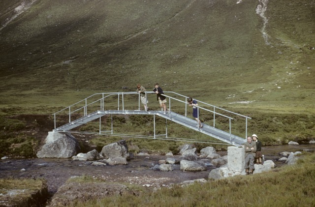Bridge over River Dee at Corrour Bothy, Cairngorms, on completion in 1959.